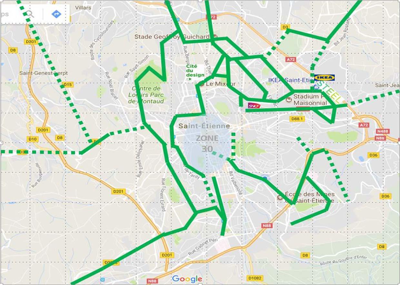 Voies vertes ville de Saint-etienne réseaux cyclable Ocivélo