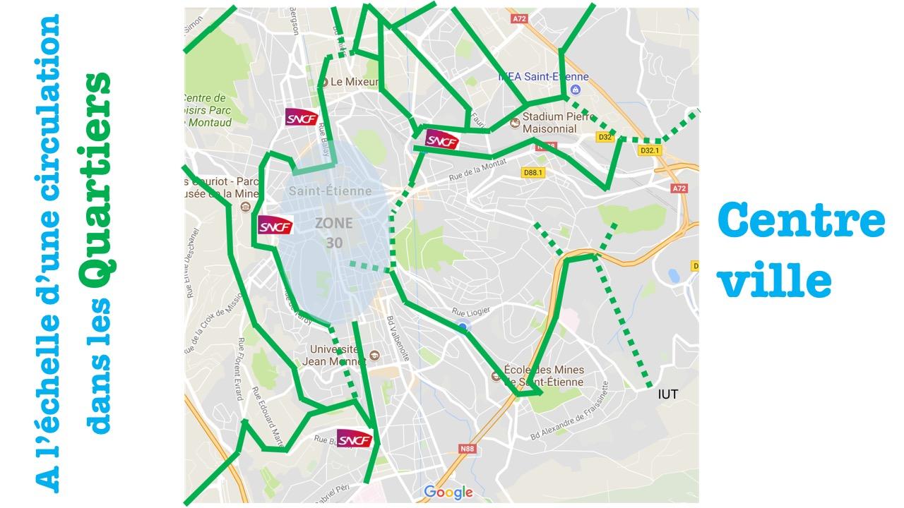 centre ville de saint etienne accessible en voie verte sécurisée et favorisant l'intermodalité